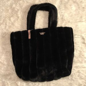 NWT Victoria's Secret Black Furry Tote Bag